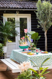 Rice Oilcloth with Palm Leaves Print