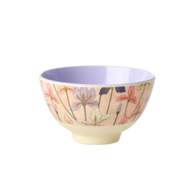Rice Small Melamine Bowl - Two Tone - Iris Print *vernieuwd model*