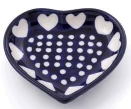 Bunzlau Heart Shape Teabag Dish Blue Valentine