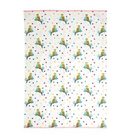 Rice Tea Towel - Budgie Print - Neon Piping