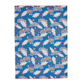 Rice Tea Towel - Autumn and Acorns Print - Neon Piping