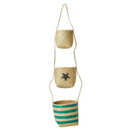 Rice Seagrass Hanging Storage Baskets with Star