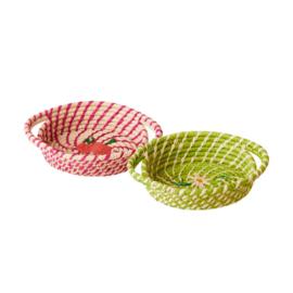 Rice Raffia Oval Mini Basket in Apple Green or Fuchsia
