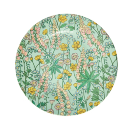 Rice Melamine Side Plate with Lupin Print -bord met rand-