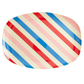Rice Melamine Rectangular Plate - Candy Stripes Print