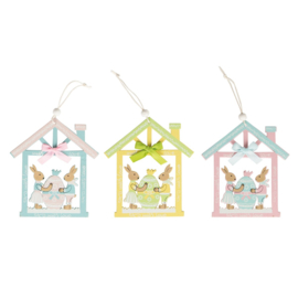 Sass & Belle Bunny Playing in House Hanging Decoration Assorted