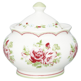 GreenGate Sugar Pot Mary white -stoneware-