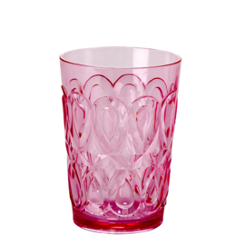 Rice Acrylic Tumbler with Swirly Embossed Detail - Pink