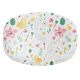 Rice Melamine Rectangular Plate - White Easter Print