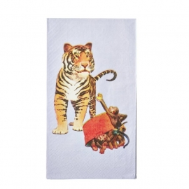 Rice 20 Paper Lunch Napkins with Retro Tiger Print