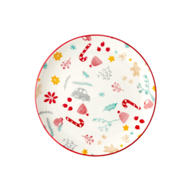 Rice Ceramic Lunch Plate - White - Christmas Print