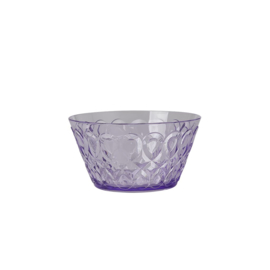 Rice Acrylic Bowl with Swirly Embossed Detail - Lavender - Small