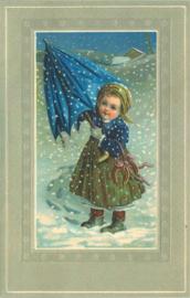 Meander Ansichtkaart Meisje in de Sneeuw