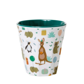 Rice Kids Small Melamine Cup with Party Animals Print - Green
