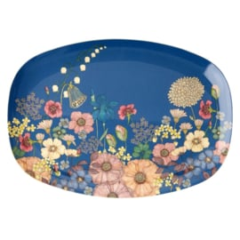 Rice Melamine Rectangular Plate - Flower Collage Print