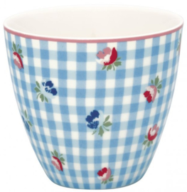 GreenGate Latte Cup Viola check pale blue -stoneware-