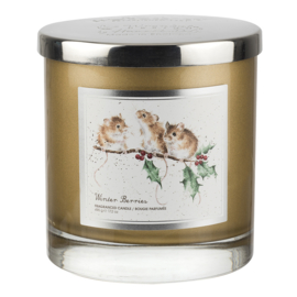 Wrendale Designs 'Winter Berries' Wax Filled 2 Wick Glass Candle