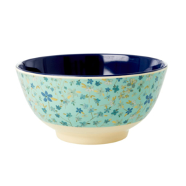 Rice Medium Melamine Bowl - Blue Floral Print