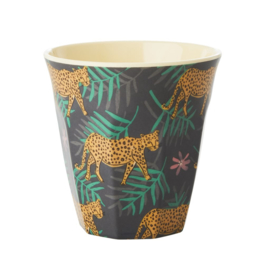Rice Medium Melamine Cup - Leopard and Leaves Print