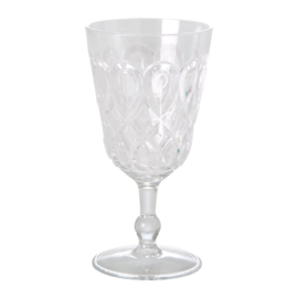 Rice Acrylic Wine Glass with Swirly Embossed Detail - Clear