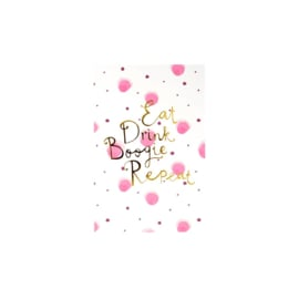 Rice Post Card Pink Watercolor Splash Print 'Eat Drink Boogie Repeat'
