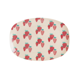 Rice Small Melamine Rectangular Plate - Strawberry Print -