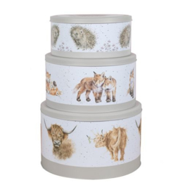 Wrendale Designs Large Cake Tin Highland Cow -grey-