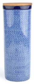 Bunzlau Spaghetti Container with Lid Blue Diamond