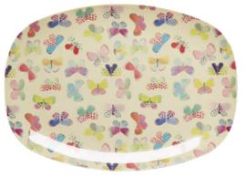 Rice Melamine Rectangular Plate - Butterfly Print