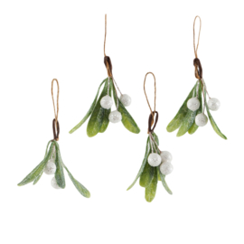 Sass & Belle Christmas Decoration Mistletoe Sprig -Set of 4-