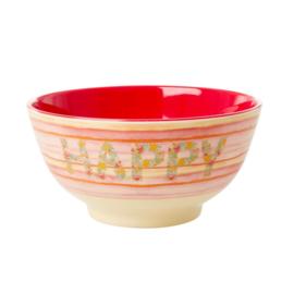 Rice Medium Melamine Bowl - Happy Pink Print