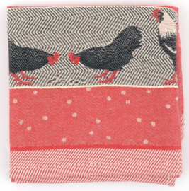 Bunzlau Tea Towel Chickens Red