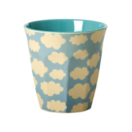 Rice Medium Melamine Cup Two Tone with Cloud Print - Blue