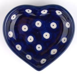 Bunzlau Heart Shape Teabag Dish Blue Eyes