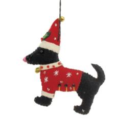 Meander Hond met rode trui en met kerstmuts -vilt-