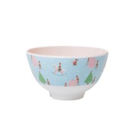 Rice Small Melamine Bowl - Xmas Elf Print