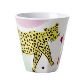 Rice Medium Melamine Cup - White - Leopard Print