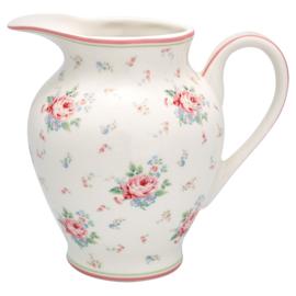 GreenGate Creamer round Marley white  -stoneware-