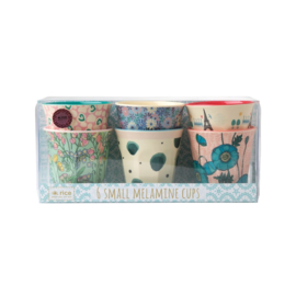 Rice Melamine Cups with Assorted Boogie Prints - Two Tone - Small - 6 pcs.