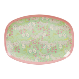 Rice Rectangular Melamine Plate with Butterfly & Flower Print