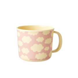 Rice Melamine Baby Cup with Cloud Print - Pink