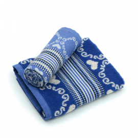 Bunzlau Kitchen Towel Lace Royal Blue