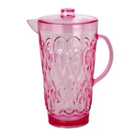 Rice Acrylic Jug with Swirly Embossed Detail Pink - Large