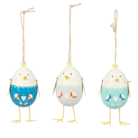 Sass & Belle Folksy Hen Rounded Egg Hanging Decoration Assorted