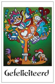 Cadeaukaartje met envelop EL Art Gefeliciteerd  -boom groen-