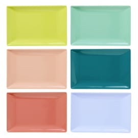 Rice Melamine Rectangular Sushi Tray in 6 Assorted SHINE Colors