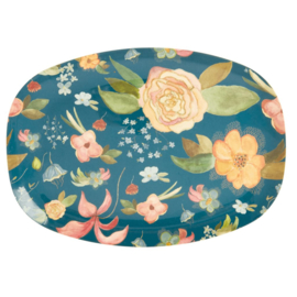 Rice Melamine Rectangular Plate - Selma's Fall Flower Print