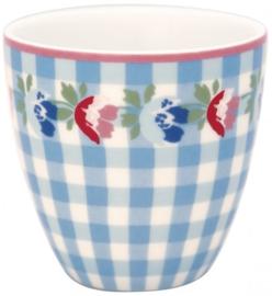 GreenGate Mini latte cup Viola check pale blue -stoneware-