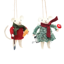 Sass & Belle Gardening Mice Felt Decoration -set van 2-