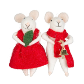 Sass & Belle Millie & George Felt Mice Decoration -set van 2-